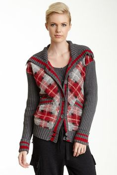 L.A.M.B. Boil Wool Blend Plaid Cardigan by Non Specific on @HauteLook