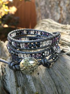 Beaded Leather Wrap Bracelet. Amethyst by SilveryBeachDesigns, $39.00