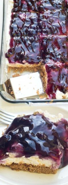 This Easy Blueberry Cheesecake Dessert recipe from Valerie's Kitchen is a delicious make-ahead choice for your next BBQ, potluck, church or family gathering!