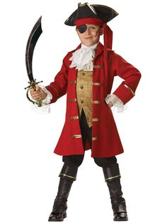 Pirate Captain Costume Halloween Spirit Did you know there are reasons why pirates have all those accessories? For instance, pirates wore earrings because they believed they would treat bad eyesight, which any optometrist will tell you i… Boys Pirate Costume, Pirate Halloween, Boy Costumes, Halloween Kids, Children Costumes, Classic Halloween Costumes, Halloween Fancy Dress, Halloween Outfits, Peter Pan