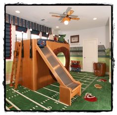 Fun Football Yard Bedroom with Oak Loft Beds for Kids and Shiny Slide on Grass Like Carpet