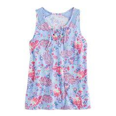 Girls 7-16 & Plus Size Mudd® Lace-Up Tank Top, Size: 18 1/2, Light Blue