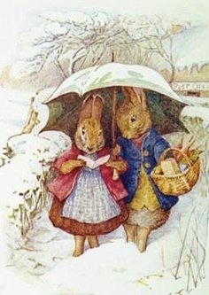 Beatrix Potter....dear friends sharing the walk to the shops.