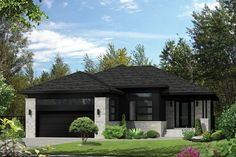 This beautiful bungalow has an undeniable charm with its stone and wood façade and its recessed entrance. The home is 45 feet 10 inches wide by 56 feet deep and provides square feet of living space in addition to a 445 square-foot two-car garage. Cottage Style House Plans, Prairie Style Houses, Cottage Style Homes, Bedroom House Plans, Dream House Plans, Contemporary Style Homes, Contemporary House Plans, Modern House Plans, Contemporary Design