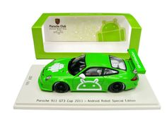 Very cute! Porsche 911 997 GT3 Cup 2011xGoogle Android Robot Special Black Wheels Edit 1:43