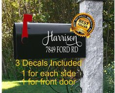 Set of 3 Custom Mailbox Decals Mailbox Numbers Vinyl Decal Stickers Trending Now Mailbox Address Decals Address Vinyl Decal Post Box decal Mailbox Flag, New Mailbox, Mailbox Numbers, Mailbox Decals, House Numbers, Personalized Mailbox, Personalized Tumblers, Personalized Items, Mailbox Makeover