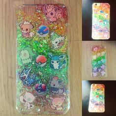 A Pokemon resin phone case #polymer #resinart #resin #epoxyresin #pokemon #pokemongo #rainbow #glitter #pokeball #shaymin #vulpix #growlithe #chikorita #glaceon #dialga #zorua #mew #skitty