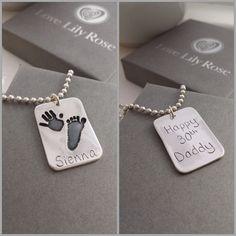 Silver Handprint Jewellery | Personalised Jewellery For Men | Keepsakes  www.lovelilyrose.co.uk