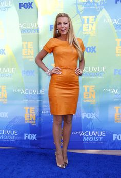 2728b41c6bd Blake Lively in an orange Leather Dress by Gucci Resort and Louboutins  Leopard Print Shoes