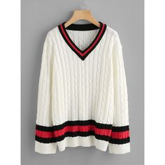 SheIn(sheinside) Cable Knit Striped Cricket Jumper (1.210 RUB) ❤ liked on Polyvore featuring tops, sweaters, white, white cable sweater, white sweater, striped sweater, cable sweater and cable-knit sweater