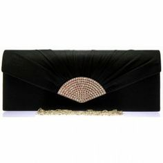 Product Code: 12070-Black. A beautiful black satin box clutch bag. Black satin pleats and silver diamante detail to the front. Plain black satin to the back. Silver magnet closure. Lined with an internal pocket. Long detachable silver link chain measuring 120cm. Size (cm): 27 wide x 10 high x 4 deep Black Clutch Bags, Plain Black, Black Satin, Evening Bags, Classic Style, Vintage Fashion, Take That, Chain, Fashion Accessories