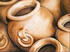 pinturas de vasijas de barro - Buscar con Google African Paintings, Easy Paintings, Vases, Fruit Art, Black Art, Ceramic Art, Painting Inspiration, Art Lessons, Still Life
