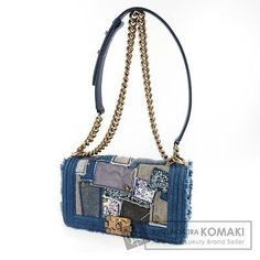 Authentic-CHANEL-Denim-x-Leather-Shoulder-bag-COCO-Mark-patchwork-Chain-L