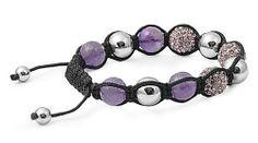 Purple Rhinestone- Amethyst Shamballa Bead Bracelet 10 mm SilverCloseOut. $19.95. Black String. Purple Rhinestone -Amethyst. 10mm Beads. Comes In A Silver Gift Box. Save 60% Off!