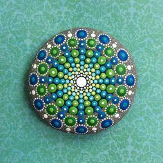 Jewel Drop Mandala Painted Stone sea urchin green от ElspethMcLean