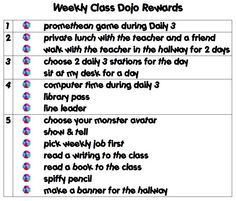 Tying class dojo points to real-world rewards.