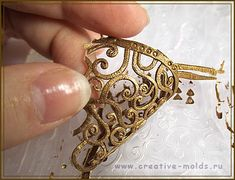 Create metal or lace components using molds and liquid polymer clay by Mary Kosovo as seen on Polymer Clay Daily http://kopilka.rv.ua/?p=2893