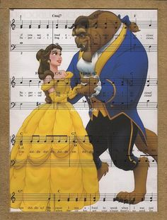 Disney Beauty And The Beast Original Print On Sheet by arwdesign, $9.00