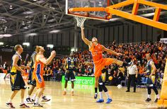 Southland Sharks seemingly scoring for the fun of it - way to do it! Reuben Te Rangi with Gareth Dawson in support. Stadium Southland, June Southland Sharks v Otago Nuggets. Sharks, Basketball Court, June, Shark