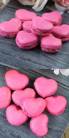 These cute heart-shaped macarons are the easiest macarons you will ever make! Strawberry macarons make a stunning Valentine's dessert, bridal shower dessert, or homemade anniversary gift #frenchmacarons #valentinescookies #easymacarons #glutenfree #anniversaryideas