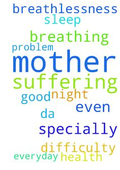 Please pray for my mother as she is suffering from - Please pray for my mother as she is suffering from breathlessness everyday she has difficulty in breathing specially in da night she cant even sleep with this problem please please pray for her Good health  Posted at: https://prayerrequest.com/t/B7X #pray #prayer #request #prayerrequest