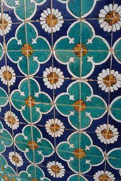 Tiles on the walls of the Blue Mosque of Mazari Sharif, Balkh province, Afghanistan.
