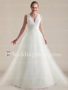 $235 Simple Satin Tulle A-Line V-Neck Beach Wedding Gown with Lace BC722