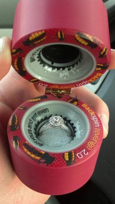 Look at this ring box that a male skater used to propose to his derby playing girl. http://www.facebook.com/photo.php?v=3087431777081  is the video. They're so cute! And I love the ring!