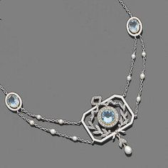 A belle époque aquamarine, pearl and diamond pendant necklace, circa 1905.