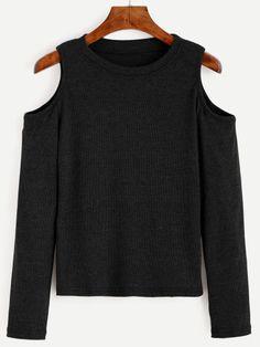 Strick T-Shirt mit Cut-outs am Schulter - schwarz