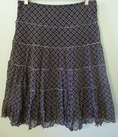 Max Edition Black white Tiered Skirt size L Stretch Nylon Lined  #MaxEdition