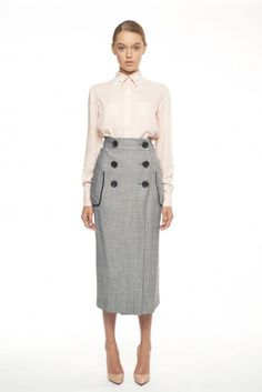 72b32632d56e8 Beautiful Grey Midi-Skirt Midi-Skirt with Black Buttons FLOW COLLECTION