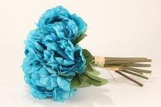Turquoise Peony Bouquet  Silk Flowers  by celebrationsupply, $18.00