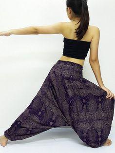 69698c6b632 Harem Pants Women Yoga Pants Drop Crotch Aladdin Pants Maxi Pants Boho Pants  Gypsy Pants Clothing Jumpsuits   Rompers Paisley Purple (HP190)