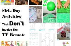 Sick-days can be challenging, especially with kids. Leave the TV off, and try these great low-energy, high-impact fun activities instead. Sick Day, Time Activities, Challenges, Tv, Ideas, Bad Day, Tvs, Thoughts, Television Set