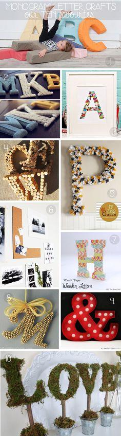 Craft Favourites:  Top 10 Monogram Letter Crafts