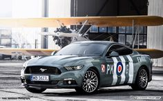 Wrap design Ford Mustang. Graphics commemorating the Pilot and commander of the Polish Squadron 315 - Eugeniusz Horbaczewski. Foto. @adventurephotographypl   Wrapped: AD Element #mustang #ford #poland #airforce #polishairforce #warsawcars #wrap #livery #oklejanie #design #airplane #metal #camo #carporn #car #boss  #driver #sportscar #vehicle #vehicles #road #freeway #highway #sportscars #exotic #exoticcar #exoticcars #speed #tire