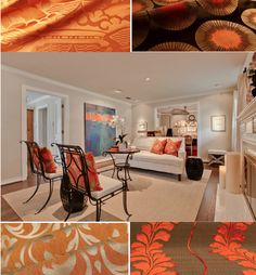Stunning Transitional Living Room Design Interior Used White Sofa And Orange Throw Pillows Ideas