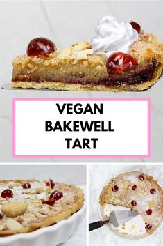 Cherry bakewell tart with eggless frangipane. Vegan Bakewell Tart, Cherry Bakewell Tart, Pastry Cook, Vegan Whipped Cream, Dessert Blog, Shortcrust Pastry, British Baking, Winter Desserts, Mary Berry