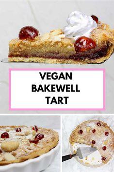 Cherry bakewell tart with eggless frangipane. Vegan Bakewell Tart, Cherry Bakewell Tart, Pastry Cook, Vegan Whipped Cream, Dessert Blog, Shortcrust Pastry, British Baking, Winter Desserts, Mary Berry