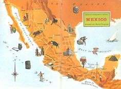 Mexico Map Art / Old Map Illustration / Antique Wall Art / World Map Decor / Colorful Map Print / Scrapbook Page / Travel Wall Artwork