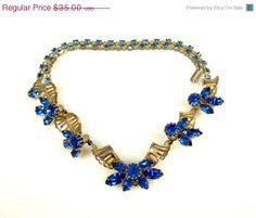 Vintage Kramer Blue Rhinestone Necklace Choker by TheFashionDen