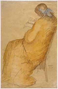 """lawrenceleemagnuson: """"Isidre Nonell i Monturiol (Spain Seated Woman Reading sanguine and watercolour on Canson paper 49 x 32 cm """" Reading Library, Reading Art, Woman Reading, Reading Books, Pablo Picasso Cubism, Spanish Artists, Abstract Expressionism, Love Art, Great Artists"""
