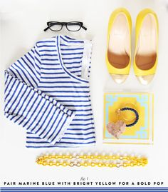 Bright marine blue and sunny yellow are the perfect pairing. www.pencilshavingsstudio.com