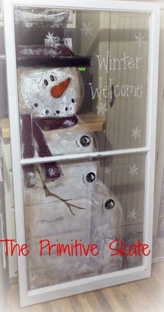 The Primitive Skate: cute snowman painted windows + Primitive Crafts, Primitive Christmas, Christmas Snowman, Winter Christmas, All Things Christmas, Snowman Crafts, Christmas Projects, Holiday Crafts, Holiday Fun