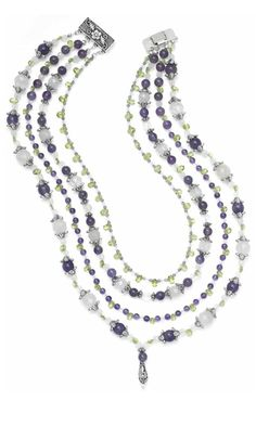 0146 FMG Jewelry Design - Multi-Strand Necklace with Amethyst, Rose Quartz and Peridot Gemstone Beads - Fire Mountain Gems and Beads