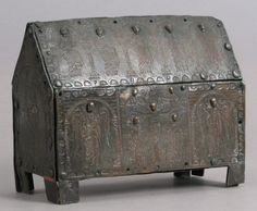 Chasse Date: late 12th–early 13th century Geography: Made in Limoges, France Culture: French Medium: Champlevé enamel (now missing), copper, traces of gilding Dimensions: Overall: 6 x 7 15/16 x 3 1/4 in. (15.2 x 20.2 x 8.2 cm)