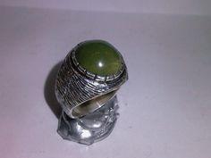 yeşil jasper taşlı gümüş yüzük