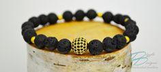 Gold and Black CZ Pavé Bracelet w/ Black Lava by DizzleDesigns - Urban Chic, Lava, Mens Fashion, Trending Outfits, Unique Jewelry, Bracelets, Handmade Gifts, Gold, Etsy
