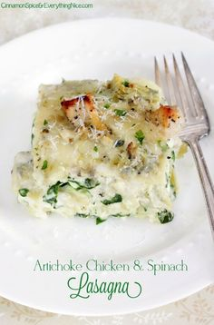 Artichoke Chicken and Spinach Lasagna. this looks amazing. i bet it would be good with chicket too.